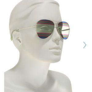 Salvatore Ferragamo Striped Aviator Sunglasses NWT